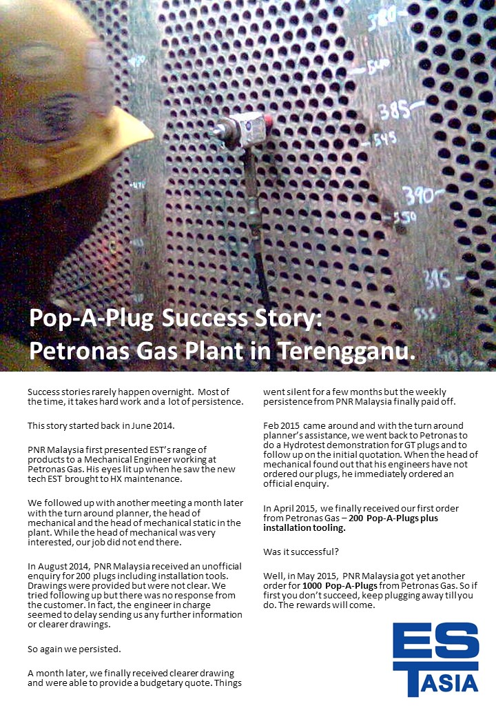 Pop-A-Plug Success Story - Malaysia 2015